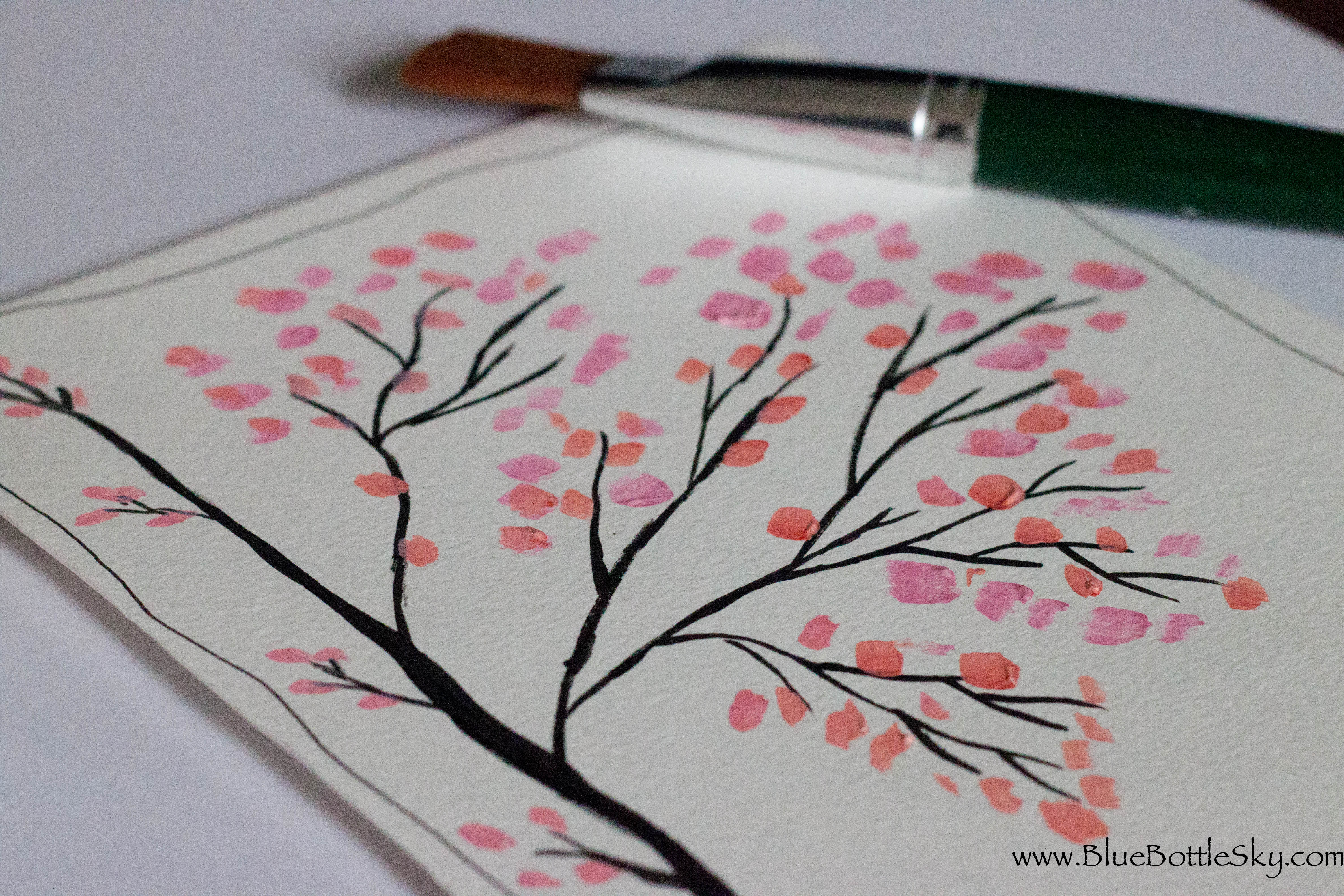 Cherry blossom bluebottlesky for Cherry blossom canvas painting